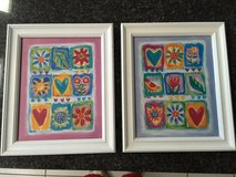 Two white framed Hearts & Flowers pictures in Elgin, Illinois