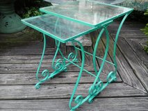 Vintage pair iron and glass green tables patio in Naperville, Illinois