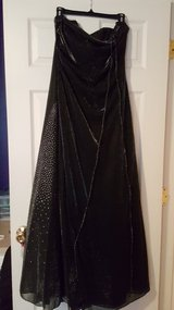Black Shimmer junior gown 8; Shoes size 8,  Jr. Jumper  $5, Jr. Sweater $5 in Moody AFB, Georgia
