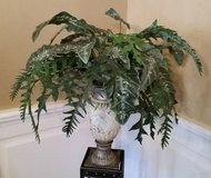 Greenery in Urn - Large arrangement of greenery in ivory color urn in Westmont, Illinois