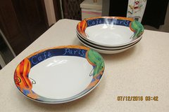 """Set of 4 """"Cafe Paris"""" Cereal--Salad--Soup Bowls By """"Furio"""" -- Never Used in Kingwood, Texas"""