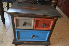 Rustic Shabby Industrial Barn Distressed Nightstand End Accent Table Wood Entry in Joliet, Illinois