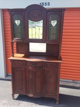 Belgium Oak Cabinet W/ Stain Glass BOW Top Doors in Cherry Point, North Carolina