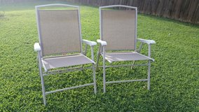 Iron / Tan / 2 Piece Folding Lawn Patio Chair Set in Fort Campbell, Kentucky