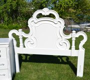 Headboard /full bed / white full bed /solid wood carved Beauty in Naperville, Illinois