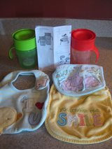 2 SIPPY CUPS & 3 BIBS in Lockport, Illinois