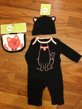 """NEW - Baby Girl's """"Kitty"""" Outfit with matching bib and hat in St. Charles, Illinois"""