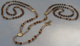 Lasso Wedding Rosary Jasper Agate & Czech Crystal Beads Earth Tones Gold Medals Crucifix w/ Crys... in Kingwood, Texas