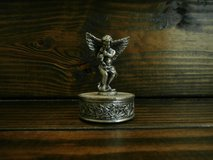 Small round pewter angel trinket box in Cleveland, Texas