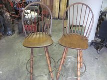 2 SOLID WOOD BAR STOOL HIGH BACK SWIVEL CHAIRS in Macon, Georgia