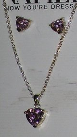 new napier pink heart necklace/earrings in Aurora, Illinois