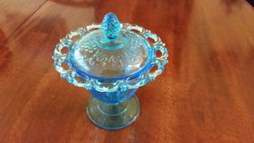 Reduced - Vtg Indiana Glass Grape Harvest Open Lace Stemmed Aqua Blue Glass Candy Dish Compote B... in Perry, Georgia