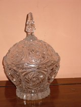 """8-1/2"""" crystal candy dish w/lid in Chicago, Illinois"""