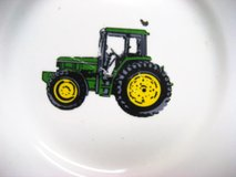 """Vintage Farm John Deere 9"""" Plate Tractor Green Gibson Yellow Country Rustic in Kingwood, Texas"""
