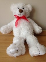 White Stuffed Bear w/ Red Bow in St. Charles, Illinois