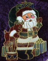 Beautiful Santa and Rudolph sun catcher in Chicago, Illinois