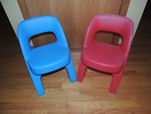 TWO Step 2 CHILD SIZE Criss Cross CHAIRS RED & BLUE for Step2 Plastic Table in Morris, Illinois