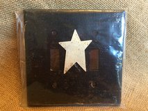 (NEW) Primitive/Rustic Black Double Light Switch Plate Covers w/ White Star in Yorkville, Illinois