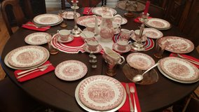 Red Hunters pattern English China 12 dinner dishes in Ramstein, Germany