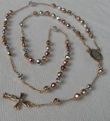 Rosary Gold Wedding Anniversary Quinceneera 18kgf Tri Colored Dainty Beautiful Gold Cruicifix Ou... in Kingwood, Texas