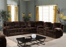 "Combination Living Room Set ""Bruce"" in dark brown Micro-Fiber in Ansbach, Germany"