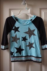 Girls Justice Blue/Black Star Shirt Size 7 in Plainfield, Illinois