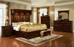 Tudor Queen Size Bed Set - bed + dresser + mirror + 1 night stand + Delivery  -  NEW  COLOR in Lakenheath, UK