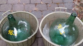 Two same size teal glass demi johns. Clean in Ramstein, Germany