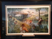 """Dale Gallon Limited Edition Framed Signed and Numbered Civil War Print """"LIGHTNING AT THE BRIDGE"""" in Fort Leonard Wood, Missouri"""