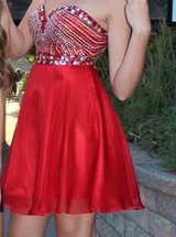 "Red ""Anny Lee"" homecoming dress with rhinestones(sparkles) in Plainfield, Illinois"