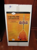 """NEW IN BOX 6FT """"HALLOWEEN WITCH IS IN"""" ORANGE BROOM LED LIGHTED SIGN in Camp Lejeune, North Carolina"""