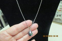 New Black Pearl Necklace - 16 Inch Silver Chain in Houston, Texas
