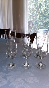 Vintage etched glasses 6 pc in Byron, Georgia