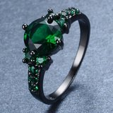New - Green Emerald Quartz and Black Ring - Size 7 in Alamogordo, New Mexico