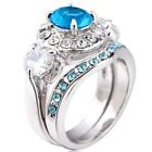 New - Aquamarine and White Ring with Gaurd - Size 6 in Alamogordo, New Mexico