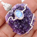 Amethyst Druzy & Moonstone Wire Wrap 925 Sterling Silver Pendant (Comes with a chain) in Alamogordo, New Mexico