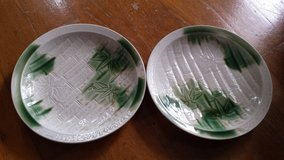 Two ceramic plates and two glass plates in Okinawa, Japan