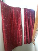 2 Curtain Panels - Red w/ Gold Circles in Oswego, Illinois