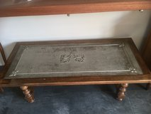 Solid antique coffee table Wood with Iron and lions in Ramstein, Germany
