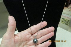 Black Pearl Necklace 18 Inch Silver Chain in Houston, Texas