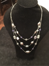 Layered Necklace blue/silver NY&Co in Naperville, Illinois