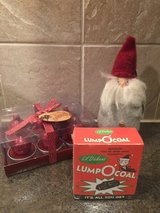 Holiday gnome ornament, tea light set and 'lump O' coal' in Westmont, Illinois