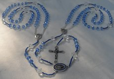 Lasso Wedding Rosary Czech Crystal Ice Blue Glass Beads Special Medal Blue Crystals Our Lady of ... in Kingwood, Texas