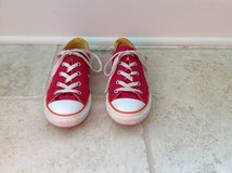 Girls Dark Pink and Orange Converse Shoes Size 3 in Plainfield, Illinois