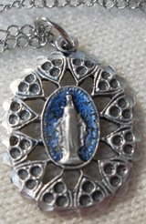Miraculous Medal New Design on Stainless Steel Chain Marcasite Style Design with Blue Background in Kingwood, Texas