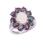 New - White Fire Opal & Rainbow Topaz Ring - Sizes 7, 8 and 9 in Alamogordo, New Mexico
