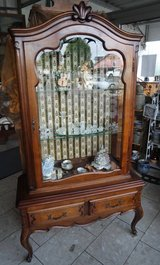 gorgeous walnut Louis XV style display cabinet in Ramstein, Germany