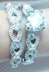 New - White Topaz and White Gold Filled Engagement Ring Wedding Band Set - Sizes 7 and 8 in Alamogordo, New Mexico