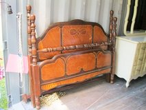 Antique Wood Inlay Full size bed in Camp Lejeune, North Carolina