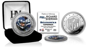 *** Richard Sherman NFL Logo Silver Plated & Color Coin with C.O.A. *** NEW *** in Fort Lewis, Washington
